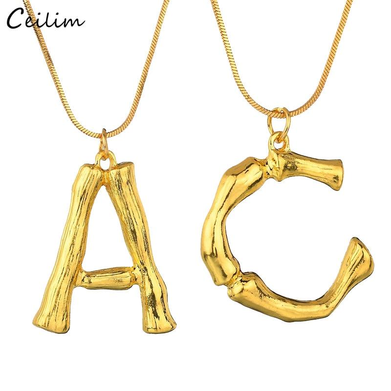 [해외]여성을새로운 골드 컬러 빅 레터 펜던트 목걸이 DIY 쥬얼리 보헤미안 대나무 랭킹 성명 목걸이 뱀 체인 초커/New Gold Color Big Letter Pendant Necklaces for Women DIY Jewelry Bohemian Bamboo Lay