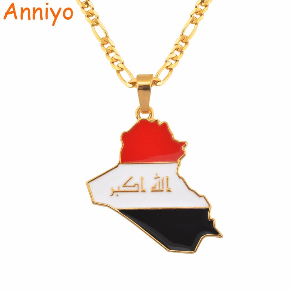 [해외]Anniyo Republic Of Iraq Map Flag Pendant Necklace for Women/Men Gold Color Jewelry Maps of Iraq Necklaces 116606/Anniyo Republic Of Iraq Map Flag