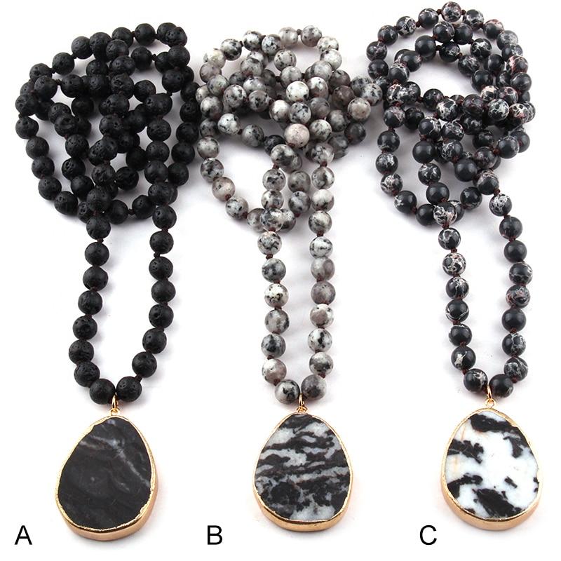 [해외] Fashion Bohemian Tribal Jewelry Semi Precious Stones Long Knotted Black Drop Pendant Necklaces/ Fashion Bohemian Tribal Jewelry Semi Precious Sto
