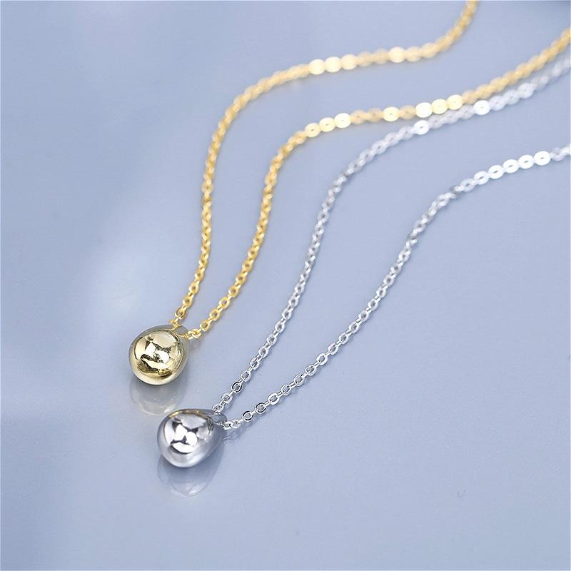 [해외]100% Authentic 925 Sterling Silver Simple Water Drop Pendant Necklaces For Women Cute Ladies Statement Necklace Silver Jewelry/100% Authentic 925