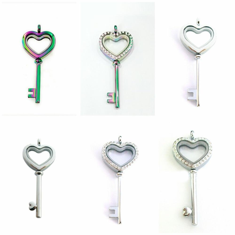 [해외]1pc Heart Shape Key Floating Locket Silver Rainbow Color Necklace Pendant  Fit For Floating Memory Living Charms Jewelry Gifts/1pc Heart Shape Key