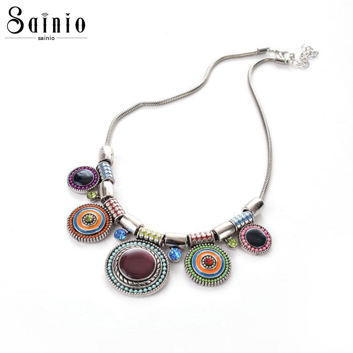 [해외]Vintage Choker Pendants&Necklace Crystal Boho Necklaces Ethnic Bohemian Jewelry Statement Colorful Bijoux Femme Mujer/Vintage Choker Pendants&