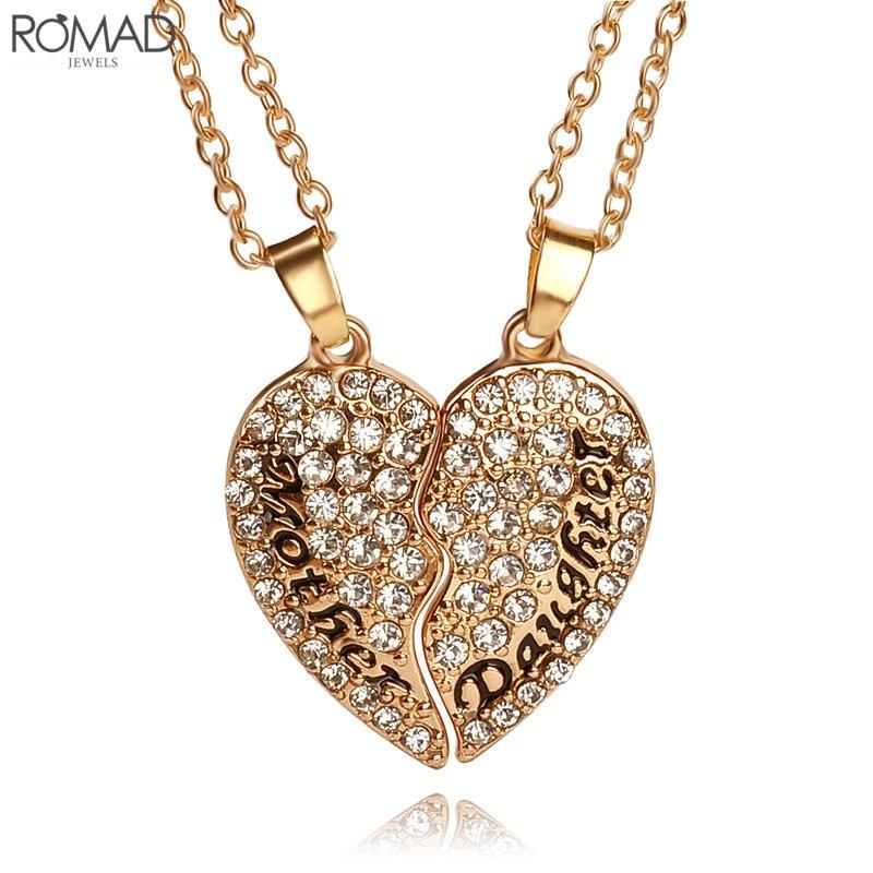 [해외]ROMAD 2pcs/set Crystal Heart Shaped Pendant Necklace Mother Daughter CZ Necklace Women Mothers Day Gifts For Mom Jewelry R4/ROMAD 2pcs/set Crystal