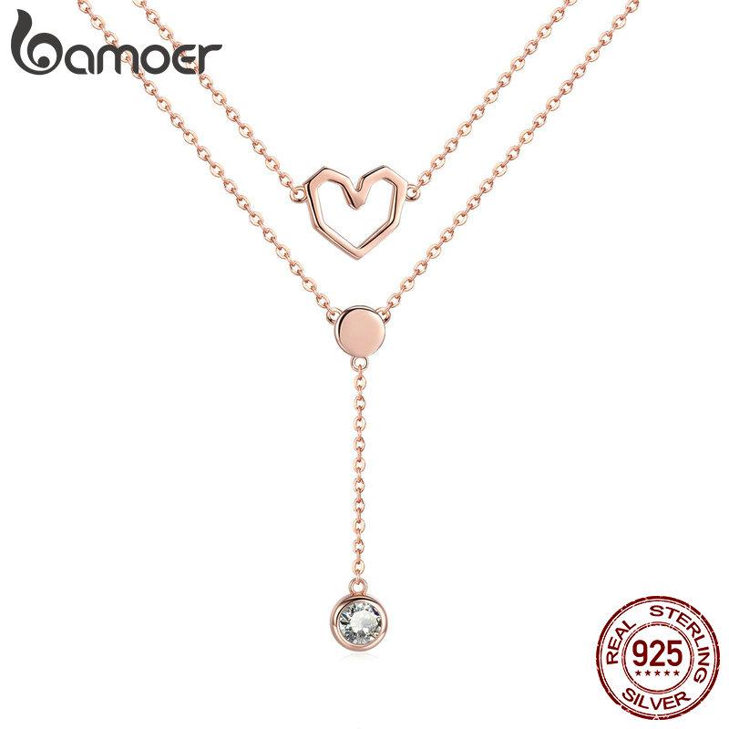 [해외]BAMOER Valentine Collection 925 Sterling Silver Double Layers Love Heart Chain Pendant Necklaces Women Female Jewelry SCN317/BAMOER Valentine Coll