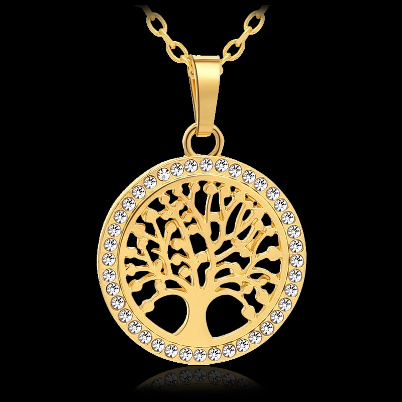 [해외]New Trendy Small Tree Of Life Round Pendant Necklace for Women Gold/Silver color Lucky Jewelry accessories Gift/New Trendy Small Tree Of Life Roun