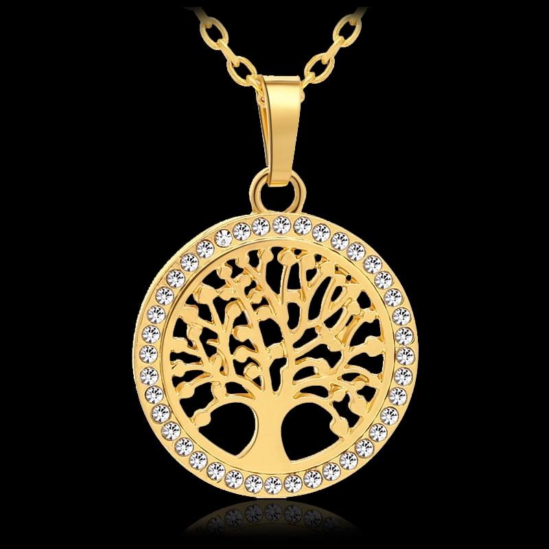 [해외]New Trendy Small Tree Of Life Round Pendant Necklace for Women Gold/Silver color Lucky Jewelry accessories Gift/New Trendy Small Tree Of Life Roun