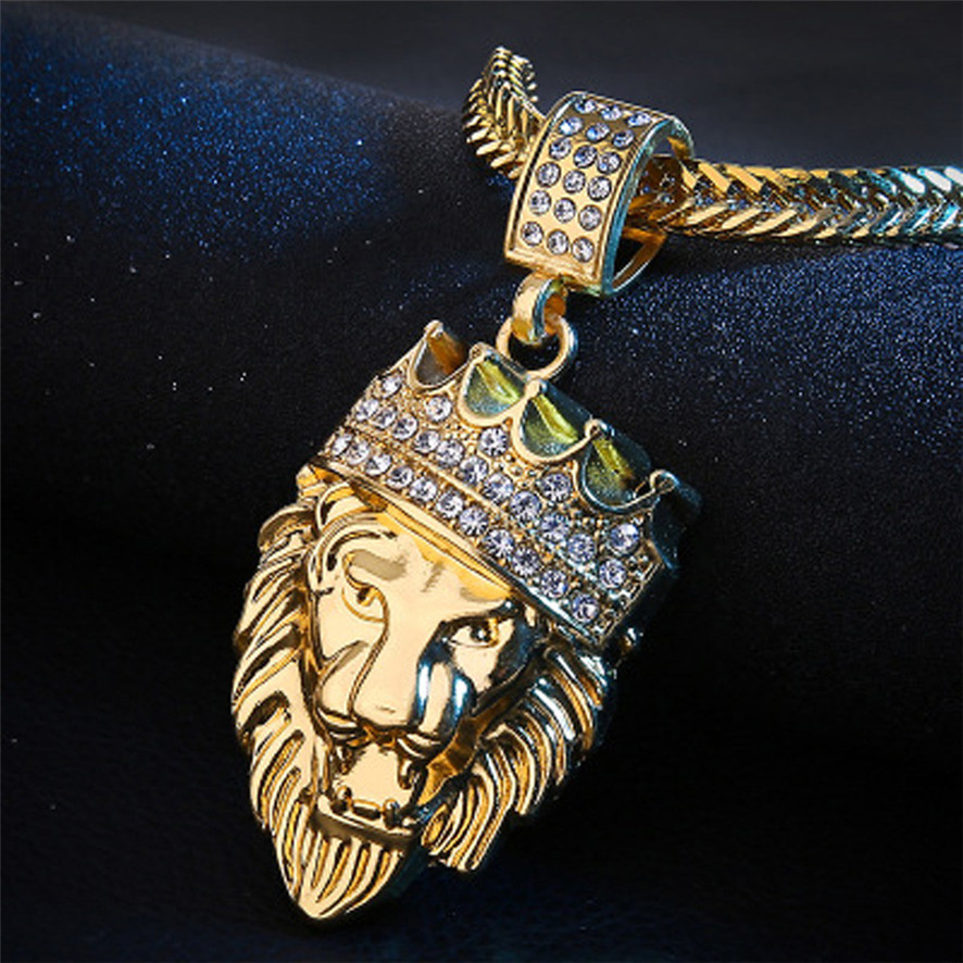 [해외]HOT Best Price Mens Full Iced Out Rhinestone Lion Tag Pendant Cuban Chain Hip Hop Necklace  661809152510/HOT Best Price Mens Full Iced Out Rhinest