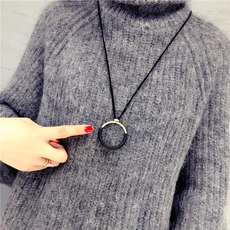 [해외]Fashion Simple Big Circle Pendant Necklace Long Rope Leather Sweater Chain For Women All-match Female Jewelry Accessories Gift/Fashion Simple Big