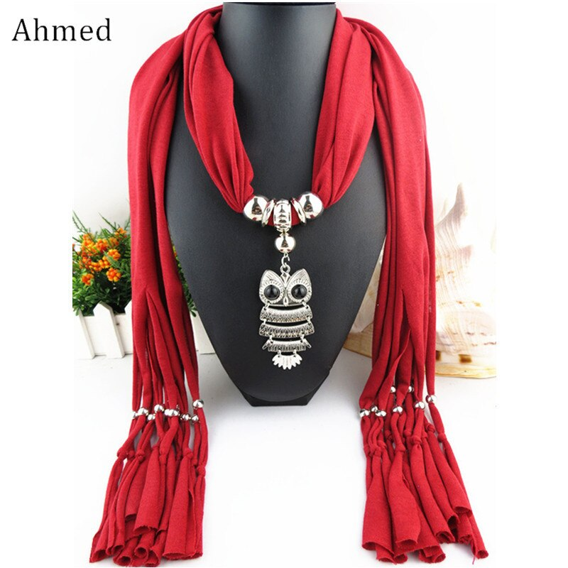 [해외]Ahmed Bohemian Fashion Collar Necklace Jewelry Ethnic Alloy Owl Pendant Silk Tassel Scarf Necklaces For Women Gifts/Ahmed Bohemian Fashion Collar