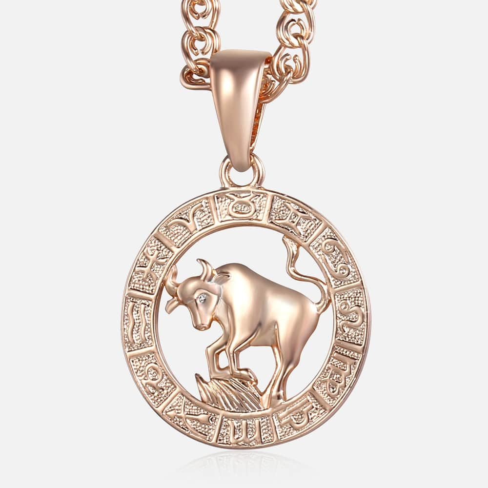 [해외]Taurus Pendant Necklace For Women 585 Rose Gold 12 Zodiac Constellation Pendant Necklace Fashion Jewelry Gifts For Women KGP179/Taurus Pendant Nec
