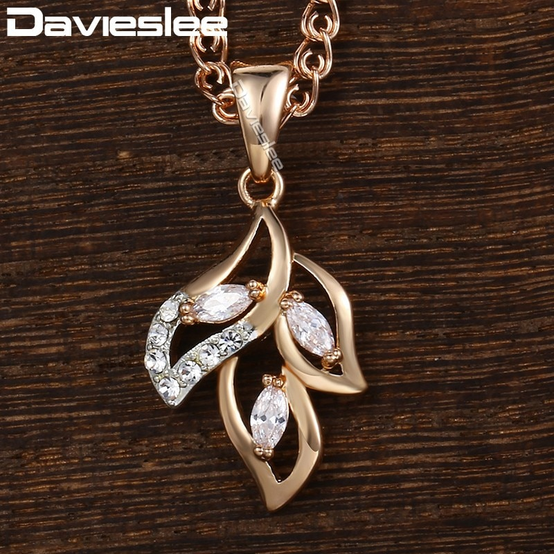 [해외]Davieslee Necklace For Women Leaf Shaped Pendant 585 Rose Gold Filled Clear Cubic Zirconia Women`s Necklace DGP195/Davieslee Necklace For Women Le