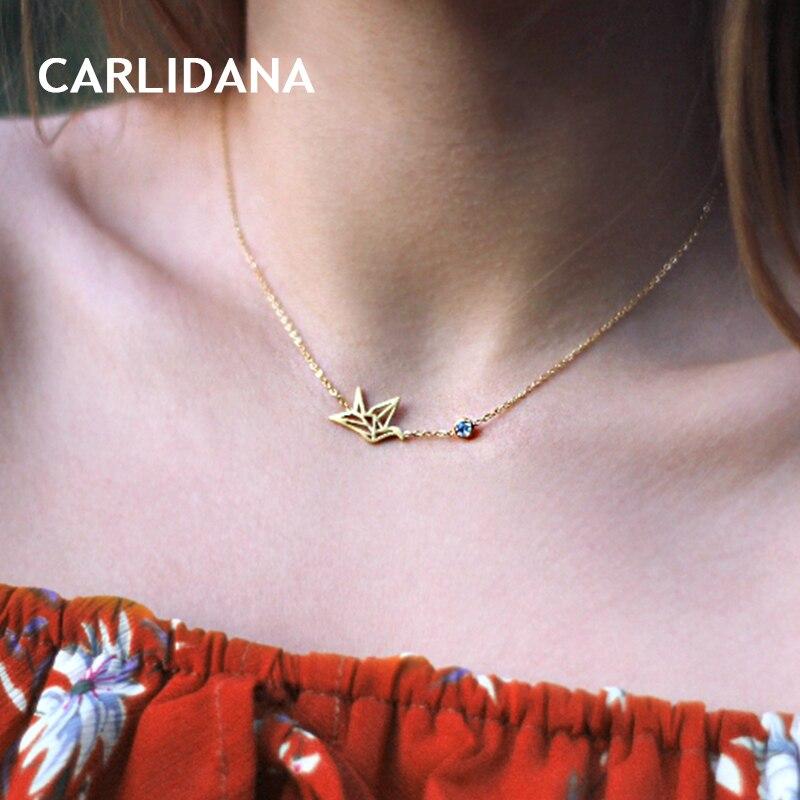 [해외]Stainless Steel Necklace for Women Gold Color 2018 Hot Trendy Necklace Jewelry Hollow Out Leaf Pendants Cubic Zirconia CARLIDANA/Stainless Steel N