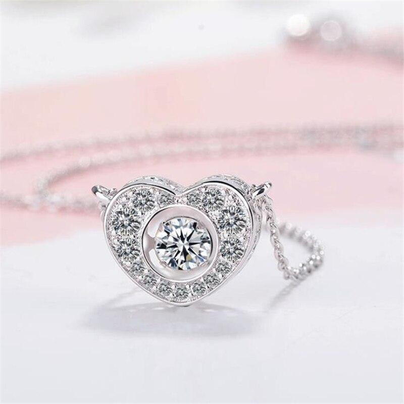 [해외]ONEVAN Shiny CZ Dancing Crystal Stones Peach Heart Pendant Necklace 925 Sterling Silver Necklaces For Women Party Bride Jewelry/ONEVAN Shiny CZ Da