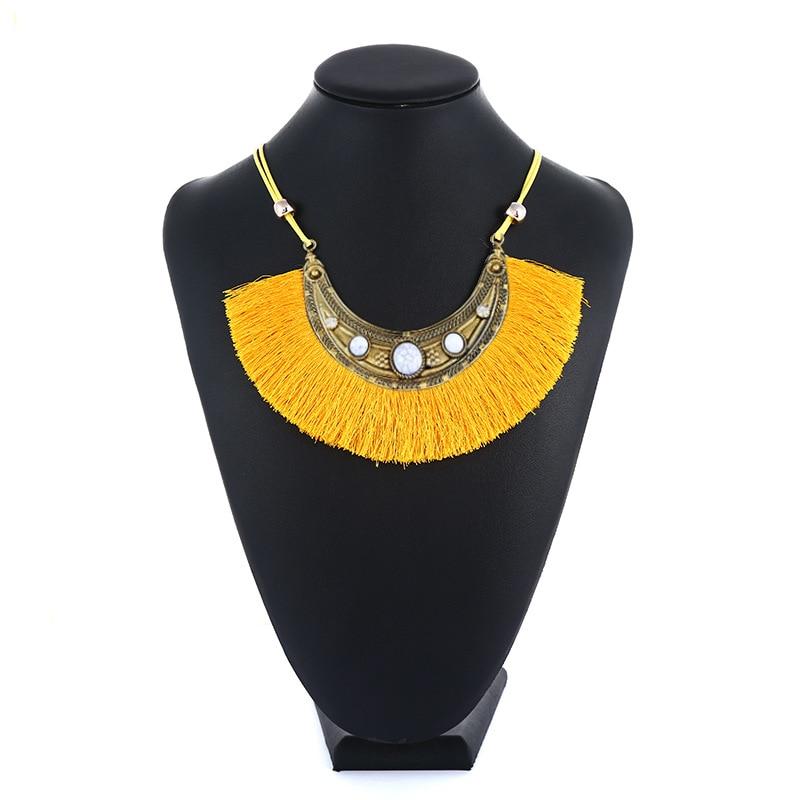 [해외]KMVEXO Bohemian Tassel Pendant Necklace Black Blue Red Yellow White Fringe Tassels Gold Resin Ethnic Sweater Chain Jewelry Gift/KMVEXO Bohemian Ta