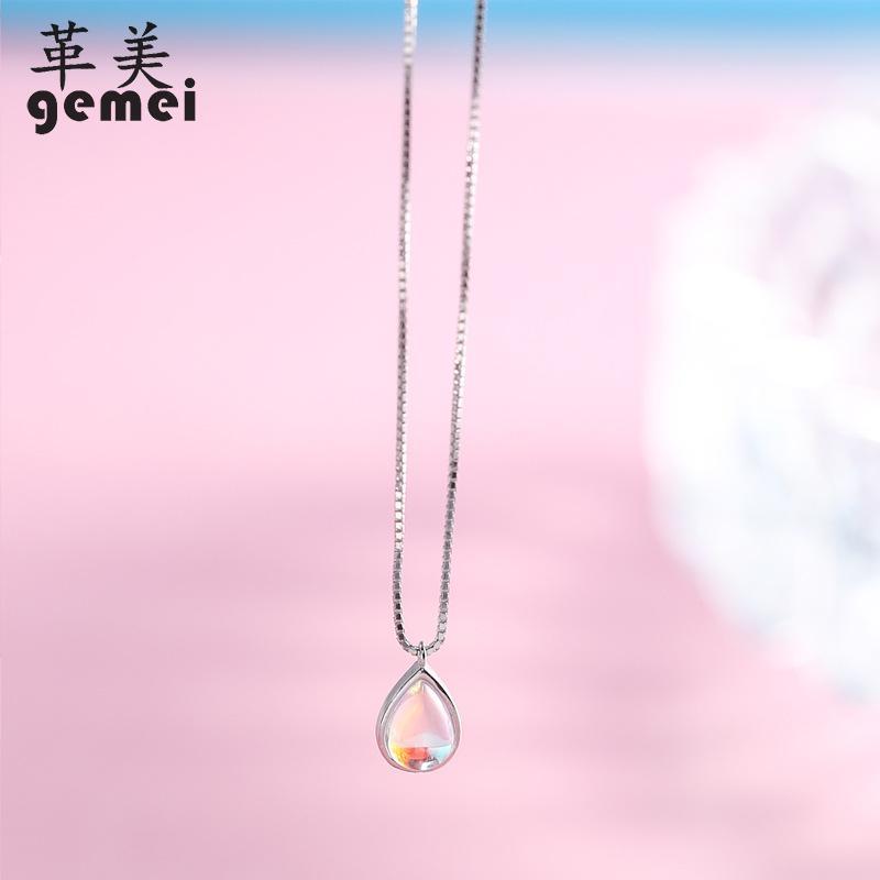 [해외]Gemei 100% 925 Sterling Silver Natural Stone Moonstone Water Drop Necklaces & Pendants For Women Simple Fashion Party Jewelry/Gemei 100% 925 S