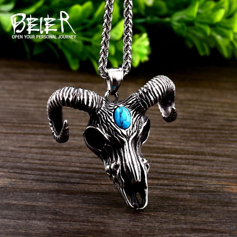 [해외]Beier 316L stainless steel Norse Vikings Pendant Necklace Norse Sheep headgreen stone Animal Jewelry for man Chain BP8-415/Beier 316L stainless st
