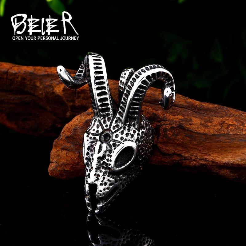 [해외]Beier 316L stainless steel Norse Vikings Pendant Necklace Norse Sheep head Original Amulet Animal Jewelry for man Chain BP8-416/Beier 316L stainle