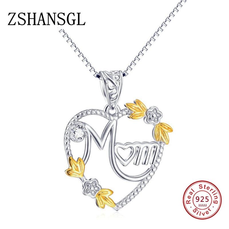 [해외]Authentic 925 Sterling Silver Letter MOM Pendant Necklaces Dazzling CZ Luxury Flower Sterling Silver Long Chain Jewelry/Authentic 925 Sterling Sil