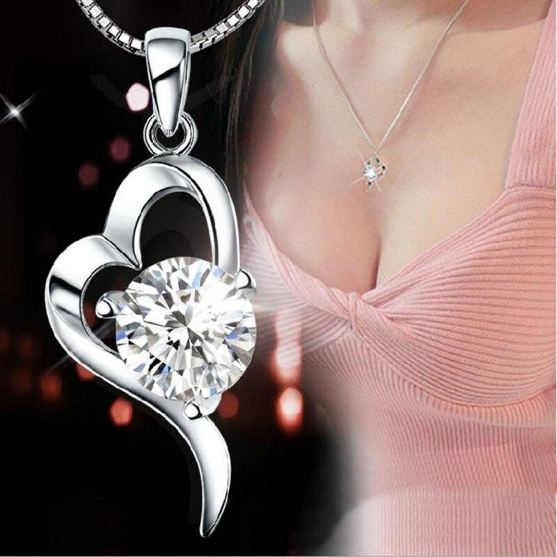 [해외]Everoyal Female 925 Sterling Silver Necklace For Women Accessories Fashion Crystal Heart Purple Pendant Necklace Jewelry Lady/Everoyal Female 925
