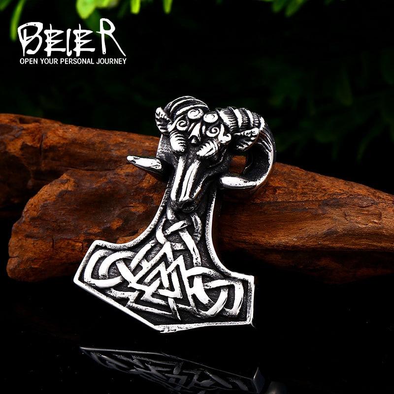 [해외]BEIER 316L stainless steel Norse Vikings Pendant Necklace Norse Sheep head Original Amulet Animal Jewelry for man Chain BP8-422/BEIER 316L stainle