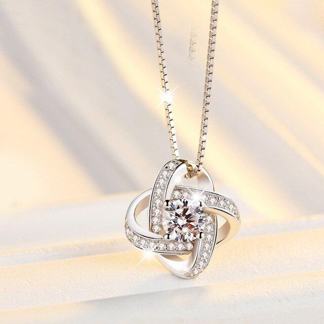 [해외]MEEKCAT Fashion New Arrival Exquisite 925 Sterling Silver Jewelry Beautiful Clover Crystal Short Female Pendant Necklace H250/MEEKCAT Fashion New