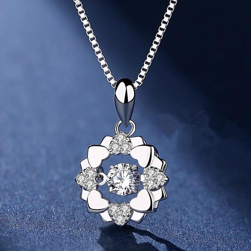 [해외]TJP New Fashion Lady Silver 925 Necklace Jewelry Female Shiny Crystal Flower Pendant Necklace For Women Accessories Stone Shaky/TJP New Fashion La