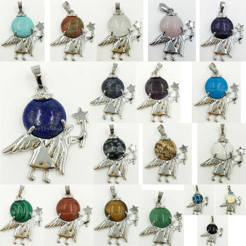 [해외]Howlite Unakite Crystal Blue Sand Lapis Lazuli Jaspe Aventurine Tiger`s Eye Malachite Opal Angel Pendant Bead 1pcs WFH477/Howlite Unakite Crystal