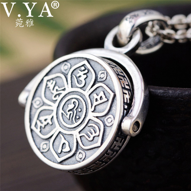 [해외]V.YA 925 Sterling Silver Pendant Necklaces Buddhistic Six Words` Sutra Rotated Pendants for Men Religious Jewelry/V.YA 925 Sterling Silver Pendant