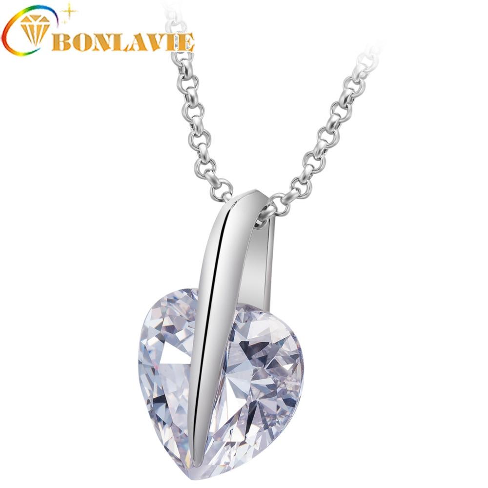 [해외]Hot Big Crystal Zircon Pendant Necklace Heart Shape Stone Zirconia Necklace Fashion Concise Woman Necklace 2019 Fashion Korean/Hot Big Crystal Zir