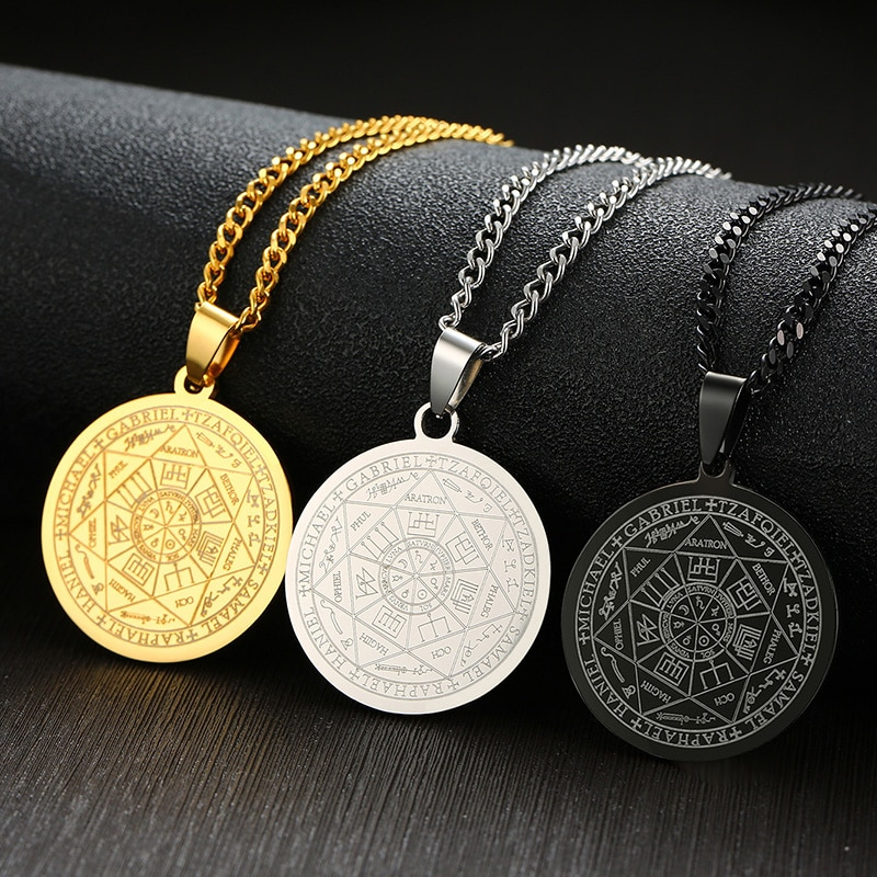 [해외]Menss Necklace Stainless Steel Gold Color The Seals Of The Seven Archangels Sigil Pendant Haniel Michael Gabriel Sign/Menss Necklace Sta