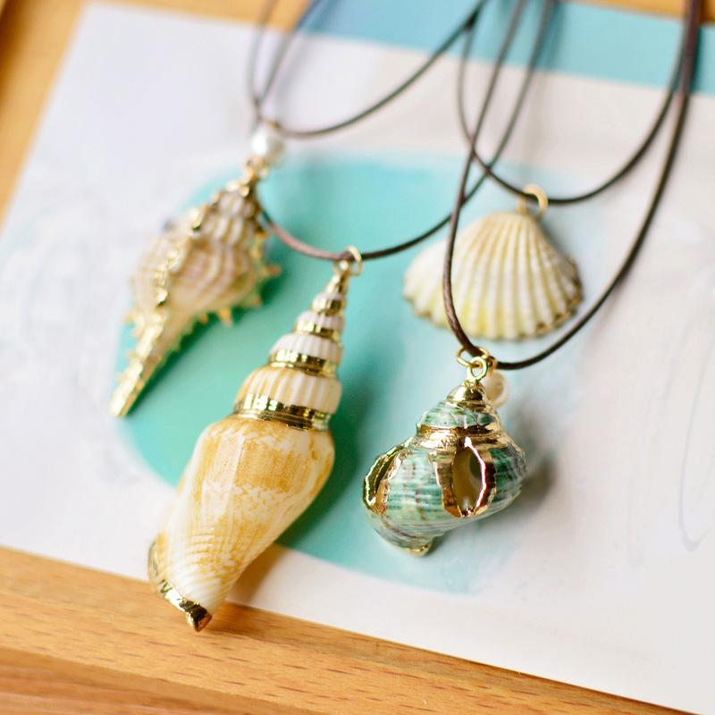 [해외]2017 Handamde 상감 골드 컬러 메탈 롱 로프 체인 Conch 자연 바다 달팽이 whelk 쉘 목걸이 여자 친구 선물/2017 Handamde Inlaid Gold Color  Metal Long Rope Chain Conch Natural Sea Sn