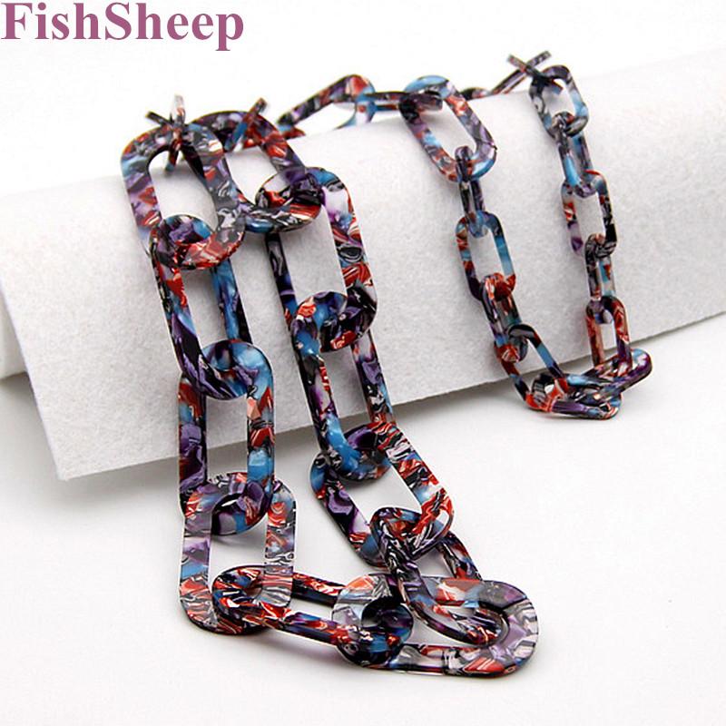 [해외]FishSheep 2018 새로운 패션 Acid 아크릴 긴 체인 목걸이 보헤미안 꼰 링크 체인 큰 목걸이 여성 파티 쥬얼리 선물/FishSheep 2018 New Fashion Acid Acrylic Long Chain Necklace Bohemian Braid