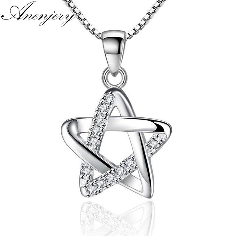 [해외]Anenjery 925 스털링 실버 중공 CZ 다섯개 스타 펜던트 목걸이 여성을45cm 체인 목걸이 collares S-N204/Anenjery 925 Sterling Silver Hollow CZ Five-pointed Star Pendant Necklace