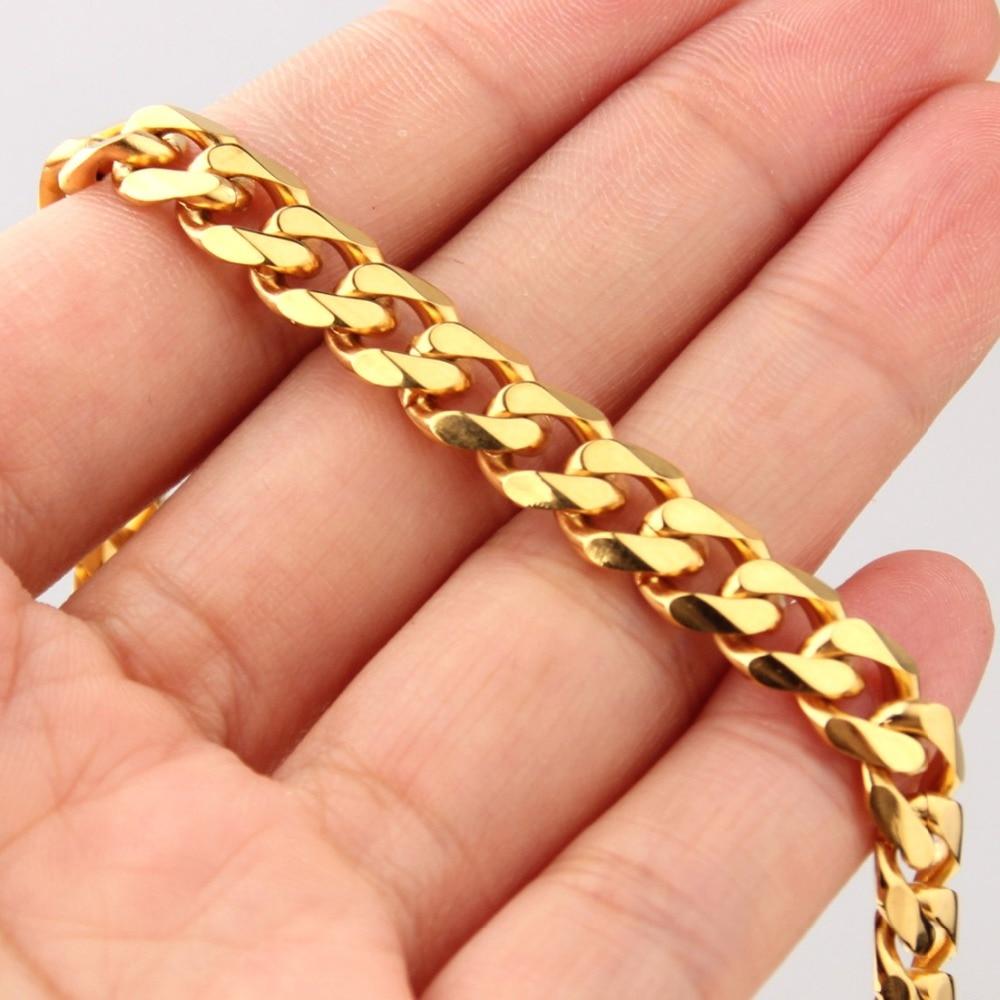 """[해외]5MM 챠밍 쥬얼리 스테인레스 스틸 골드 톤 쿠바 연석 체인 망 여성 목걸이 또는 팔찌 팔찌 7-40 """"도매 선물 온천/5MM Charming Jewelry Stainless Steel Gold Tone Cuban Curb Chain Mens Women"""