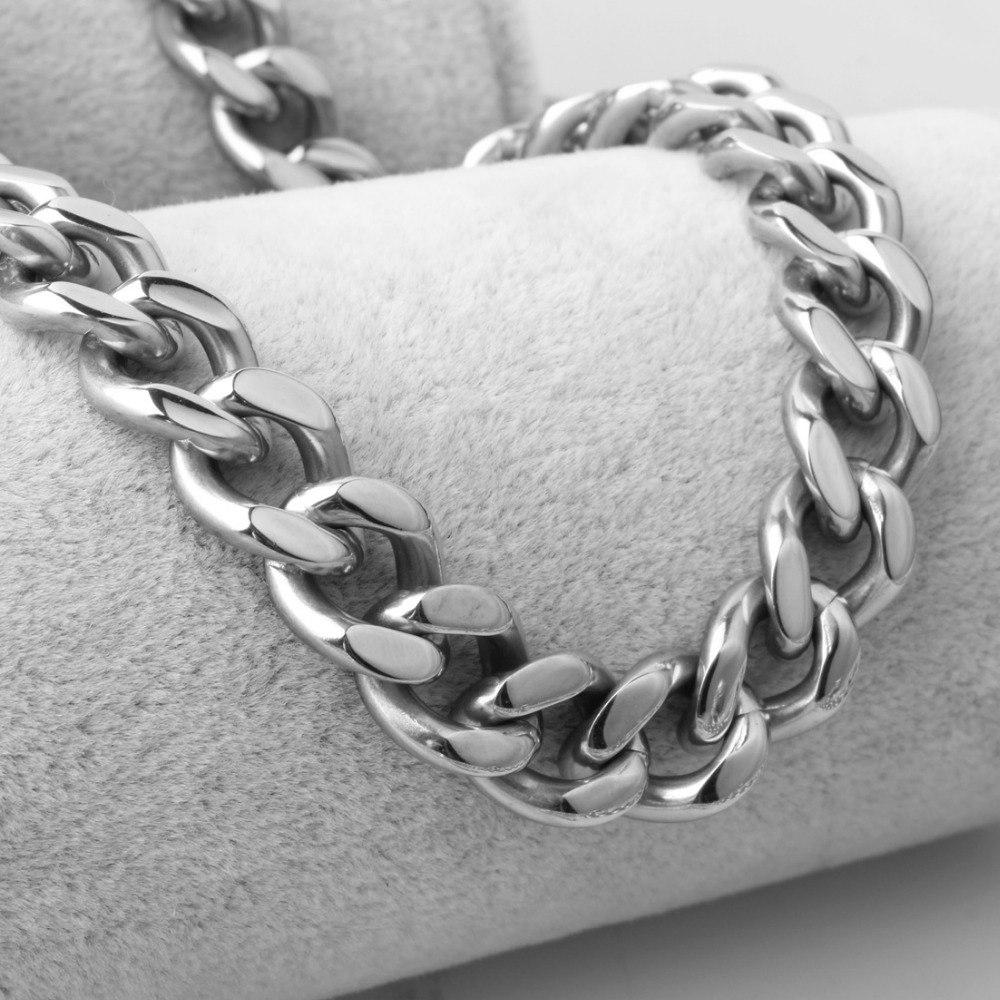 [해외]11mm 와이드 남성 실버 컬러 스테인레스 스틸 쥬얼리 7-40 인치 길이 커브 Cuban Link Chain 무료 사이즈를 선택하십시오 쥬얼리/11mm Wide Men`s Silver Color Stainless Steel Jewelry 7-40 Inches