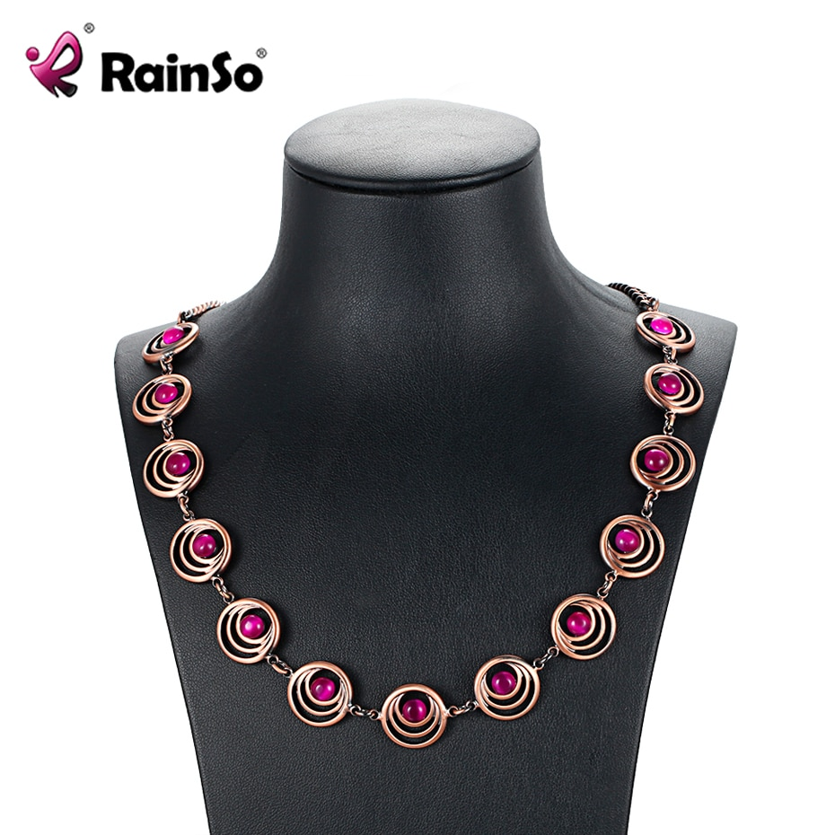[해외]RainSo Fashion Statement Necklace Women Magnetic Bio Energy Health Choker Thick Chain Blue/Pink/Gray Opal Copper Necklace Gifts/RainSo Fashion Sta