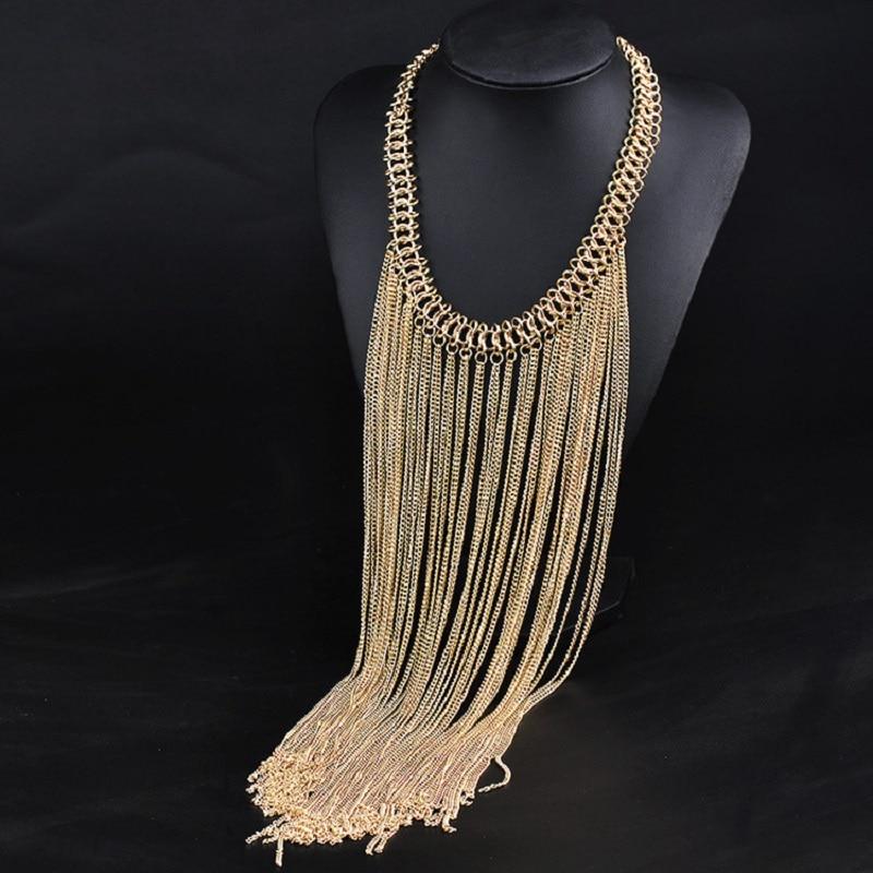 [해외]Vintage Boho Choker Bohemian Collar Fashion Gold Silver Plated Long Necklace Maxi Statement Tassel Necklace Women 2016 Jewelry/Vintage Boho Choker