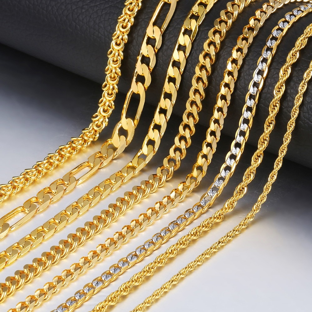 [해외]Trendsmax Gold Necklace For Men Women Figaro Rope Cuban Link Chain Necklace Male Collar Fashion Gift Jewelry Hip Hop 18-24\