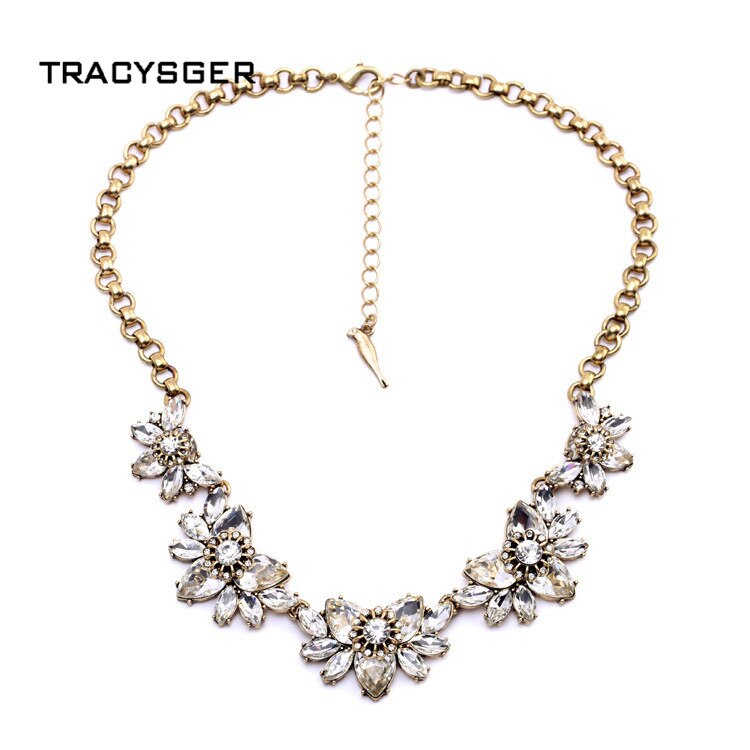 [해외]AB-xl00444a /TRACYSGER/ shiny crystal flower necklace/AB-xl00444a /TRACYSGER/ shiny crystal flower necklace