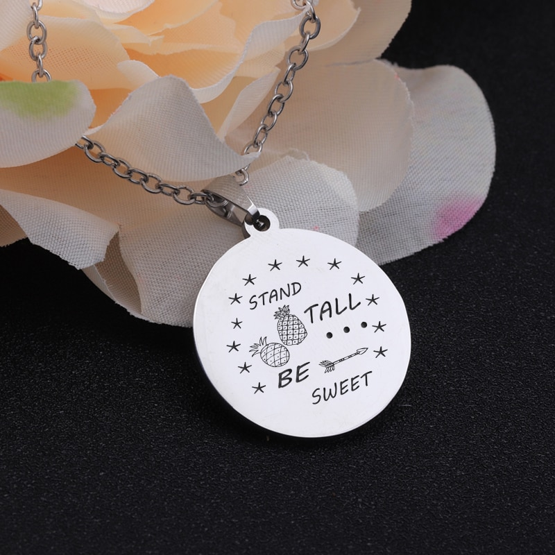 [해외]Stand Tall Be Sweet Motivational Present Necklace Jewelry Fashion Pendant Trinket Chain Stainless Steel Accessories Friends Gift/Stand Tall Be Swe