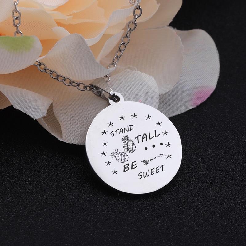 [해외]Stand Tall Be Sweet Motivational Present Necklace Jewelry Fashion Pendant Trinket Chain Stainless Steel Accessories Friends Gift/Stand Tall Be Swe