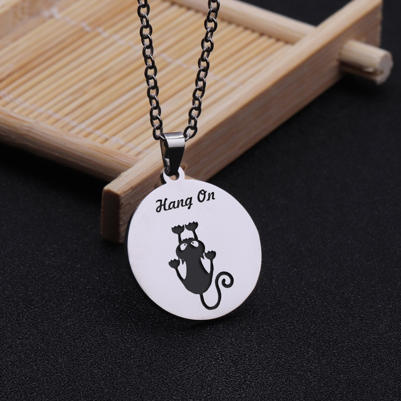 [해외]Hang On Hand Stamped Cat Pendant Necklace Inspirational Present For Friends Families Gift Jewelry Motivational Chain Necklaces/Hang On Hand Stampe