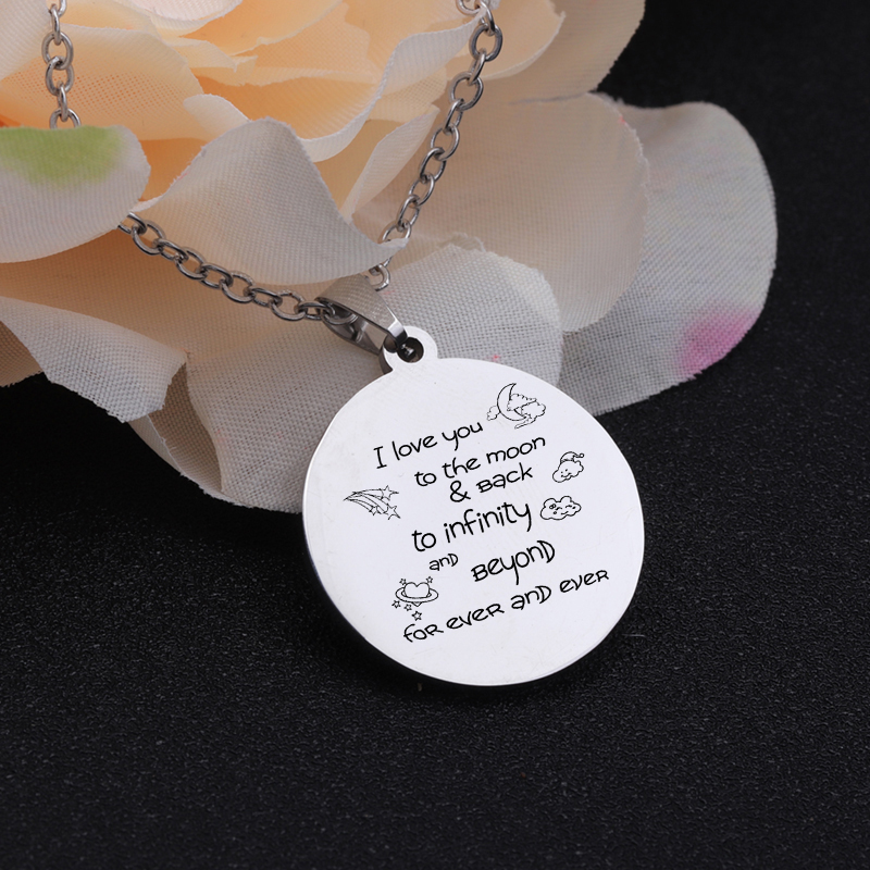 [해외]Stainless Steel Necklace Accessories Couples Gift I Love You To The Moon And Back Loving Words Engraved Necklaces Girlfriend/Stainless Steel Neckl