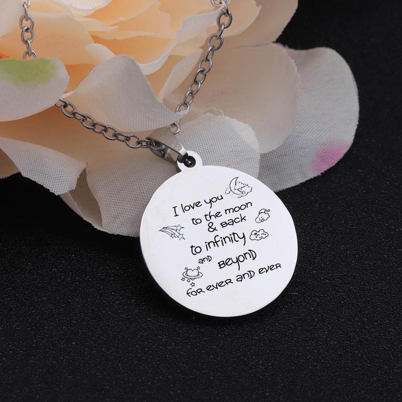 [해외]Stainless Steel Necklace Accessories Couples Gift I Love You To The Moon And Back Loving Words Engraved Necklaces Girlfriend/Stainless Steel Neckl