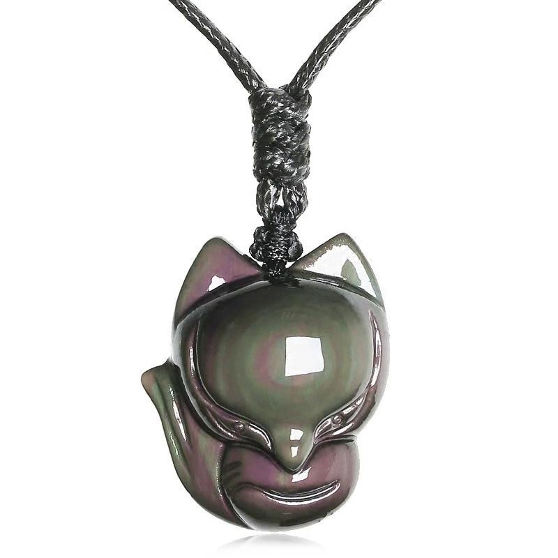 [해외]쥬얼리 펜던트 폭스 체인 목걸이 자연 레인보우 아이 오브 시스 티안 스톤 부적 쵸커 행운의 목걸이 펜던트 for 여성 / 남성/Jewelry Pendant  FoxChain Necklace Natural Rainbow Eyes Obsidian Stone Amul
