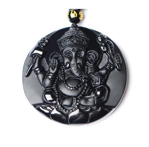 [해외]DropShipping 검은 흑요석 목걸이 펜던트 1pc 조각 된 자연 흑요석 석재 Ganesh 인도 코끼리 하나님 스톤 펜던트/DropShipping Black Obsidian Necklace Pendant 1pc Carved Natural Black Obsi