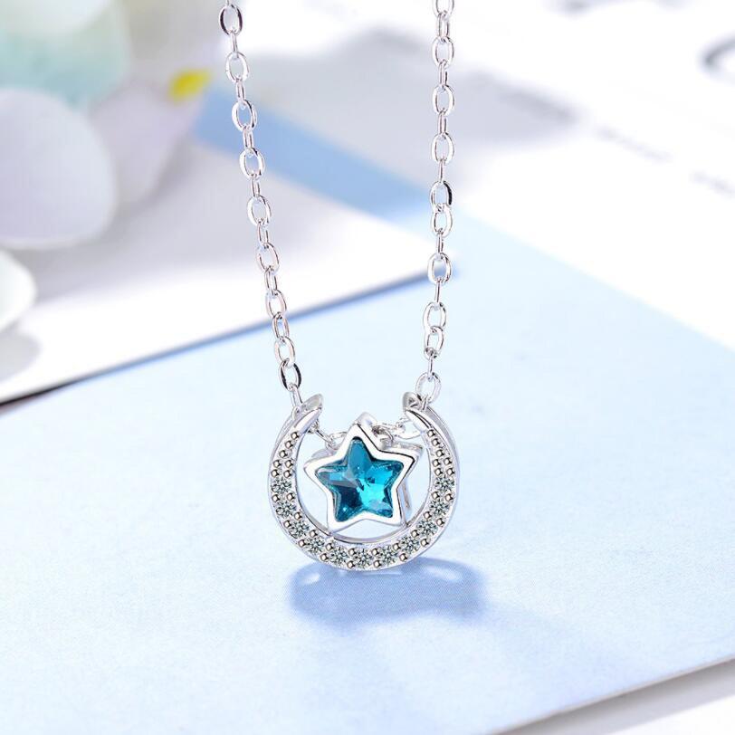 [해외]펜타그램 블루 문 펜던트 목걸이 다섯개 스타 목걸이 펜던트 블루 문 상징 쥬얼리 문 돔 목걸이/Pentagram Blue Moon Pendant Necklaces Five-Pointed Star Necklace pendant Blue Moon Symbol Jew