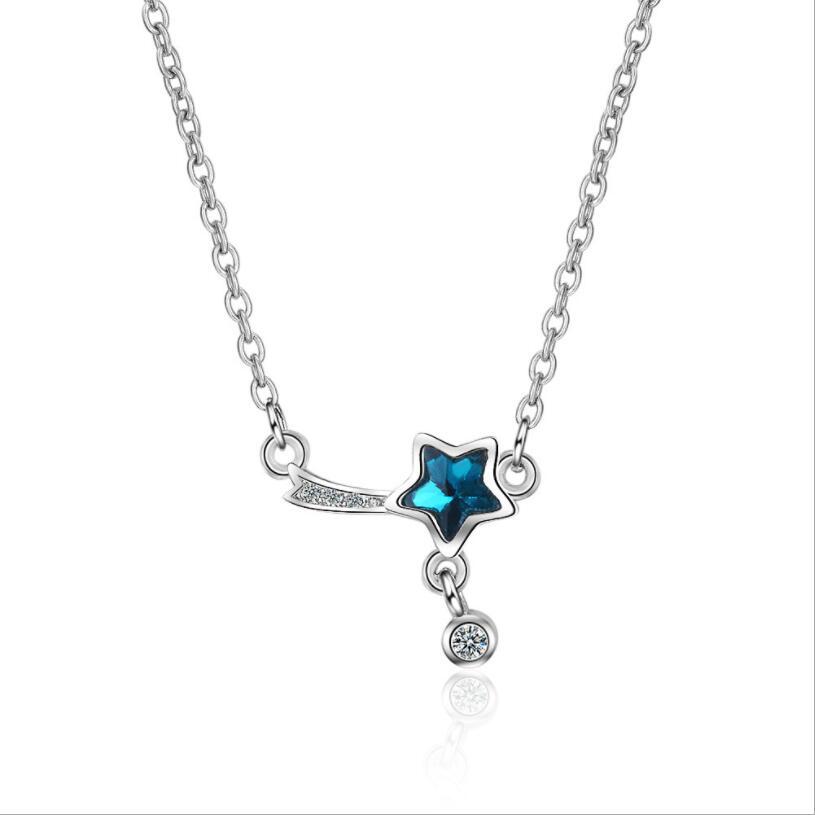 [해외]기하학 짧은 체인 펜던트 오각형 블루 펜던트 목걸이 다섯개 스타 목걸이 펜던트 기호 쥬얼리 Ror 여성/Geometric Short Chain Pendant  Pentagram Blue Pendant Necklaces Five-Pointed Star Neckla