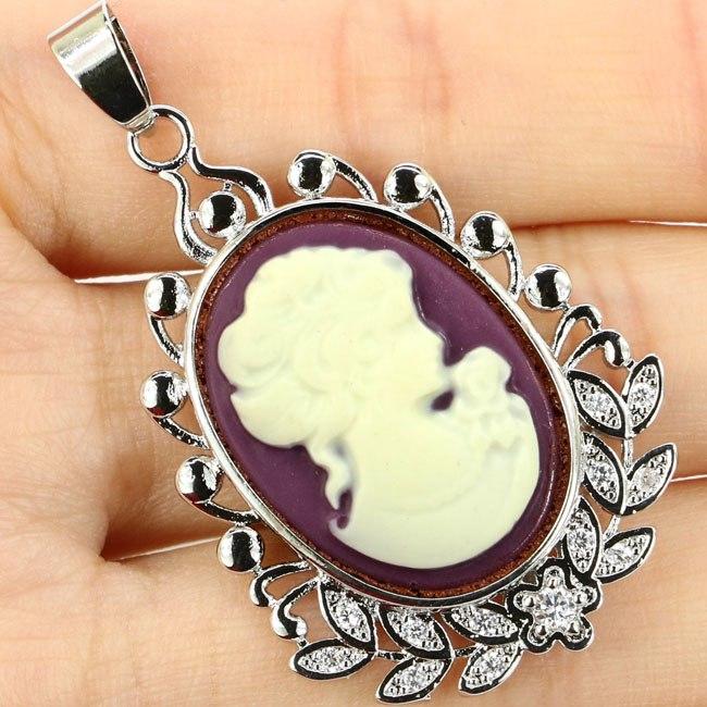 [해외]Big Size Cameo Onyx White Lady Valentine`s Day Gift 925 Silver Pendant 47x28mm/Big Size Cameo Onyx White Lady Valentine`s Day Gift 925 Silver Pend
