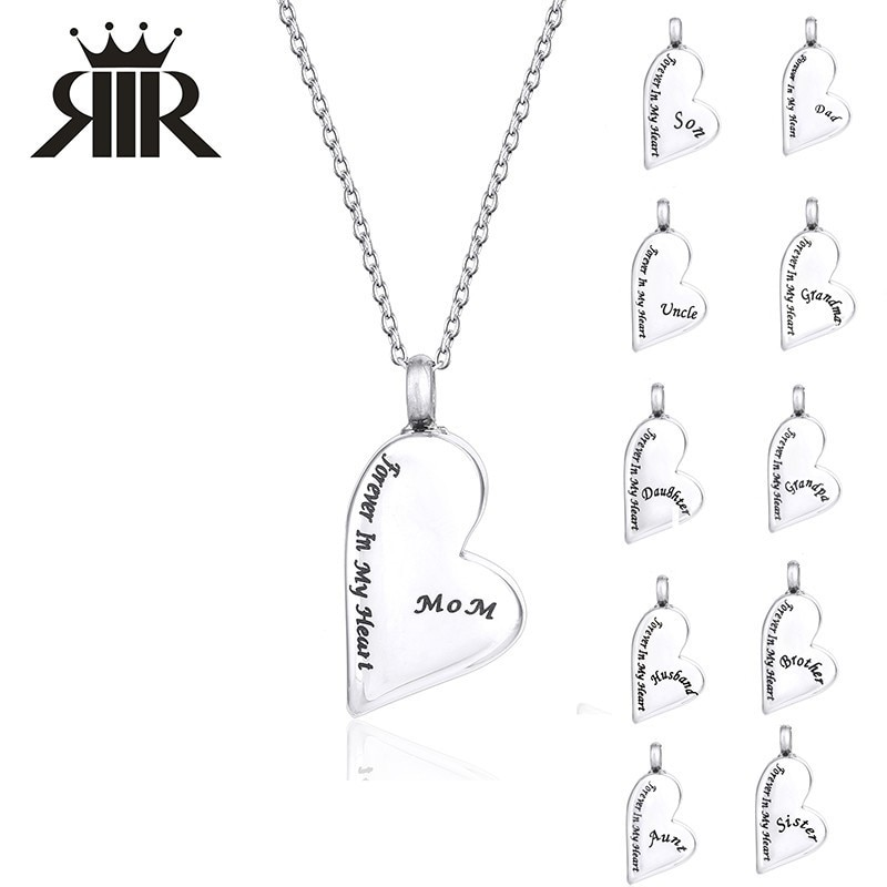 [해외]RIR Stainless Steel Always In My Heart Cremation Necklace Human Ash Urn Pendant Necklaces Best Souvenir For Lover/RIR Stainless Steel Always In My
